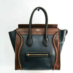 Celine Luggage Micro Shopper 167793 Women's Leather Handbag Brown,Navy BF506630