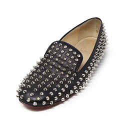 Christian Louboutin Black Leather Studded Loafers 38