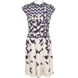 TORY BURCH Dress Cap Sleeve Logo Print Pleated Dress Ivory Blue Pink Sz 8