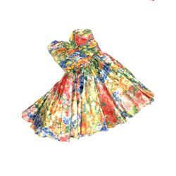 Jenny Packham Muticolor Floral-print Fit & Flare Strapless Dress