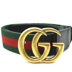Gucci Green Red Marmont GG Stripe Belt Size 75/30