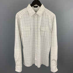 Neil Barrett Size L White & Grey Plaid Cotton Button Up Long Sleeve Shirt