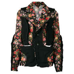 Comme Des GarCons Floral Multi Black Paneled Techno Jacket