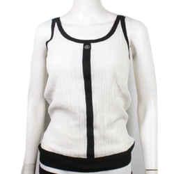Chanel - Lion Buttons Knit Tank Top - White & Black - Cotton Cashmere Us 10 - 42