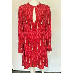 $5k Valentino Zandra Rhodes Red Pink Lipstick Print Silk Fit & Flare Dress 8/10