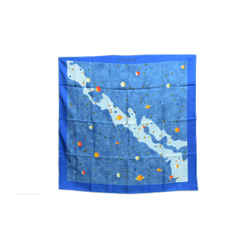 Authentic Hermes 100% Silk Scarf La Voie Lactee Blue Kaminski Vintage 90cm Carre