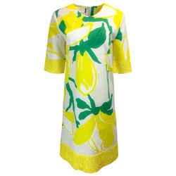 Marni Yellow Lemon Print Cotton Cocktail Dress