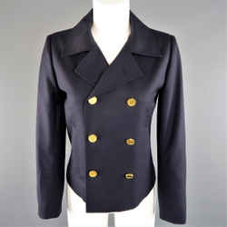 Saint Laurent Size 4 Navy Wool  Gold Button Cropped Double Breasted Jacket