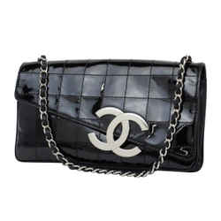Chanel Quilted Patent Chocolate Bard Jumbo Logo Diagonal Chain Flap 233778