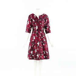 Oscar de la Renta Dress Red Floral Print Silk SZ 6