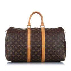 Vintage Authentic Louis Vuitton Brown Monogram Keepall 45 FRANCE