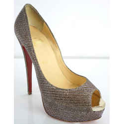 Christian Louboutin Glitter Lady Peep Toe Pumps Size 40 10 Platform Heels $975