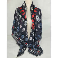 $365 Alexander Mcqueen Black/gray Shawl With Multi-color Skull Print 496827 1062