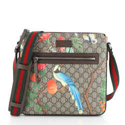 Front Zip Messenger Tian Print GG Coated Canvas Medium