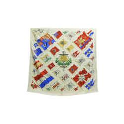 Authentic Hermes 100% Silk Scarf Pavois White Ledoux Vintage 90cm Carre