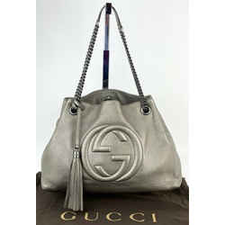 Gucci Soho Metallic Pewter Pebbled Calfskin Leather Chain Strap Shoulder BagB231