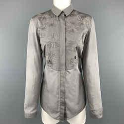 Akris Size 8 Grey Sheer Cotton Beaded Bib Blouse