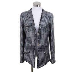 Chanel Black White Mohair Star Trim Jacket Sz 8