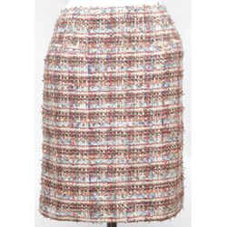 CHANEL Tweed Skirt Knee Length Pencil Fantasy Lesage Sequin Ribbon Sz 42 05P