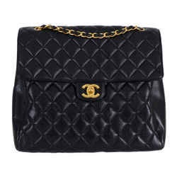 "Chanel Classic Quilted Caviar Maxi Flap Black Leather Shoulder Bag 13""l X 5""w X 11""h"