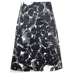 Marni Black Grey White Flower Print Dress Skirt Zipper Cotton Blend Sz 38 Dopeek