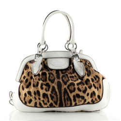 Dolce & Gabbana Animalier Shoulder Bag Leopard Print Canvas And Leather Large