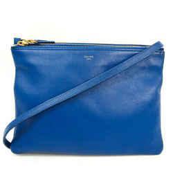 Celine Trio Large Women's Leather Shoulder Bag Blue BF516710