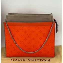 LOUIS VUITTON POCHETTE VOYAGE MM Monogram Orange Clutch Shoulder Bag InsertA728