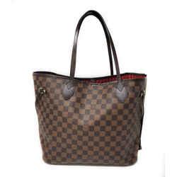 Louis Vuitton Neverfull Mm Damier Ebene Red Interior Tote Bag