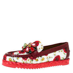 Dolce & Gabbana Red Brocade Fabric Crystal Embellished Loafers Size 36.5