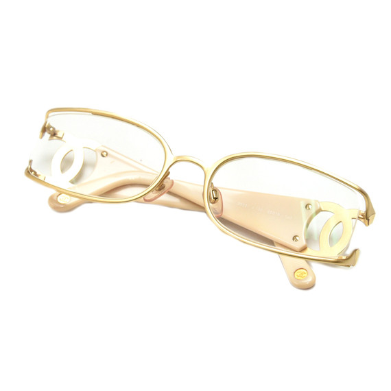 Chanel Pink Enamel and Gold-toned metal CC Logo Rectangular Eyeglasses CH762