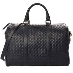 NEW Gucci Micro Guccissima Black Boston Satchel Shoulder Bag