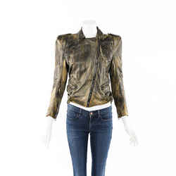 Balmain Structured Distressed Leather Jacket SZ 36
