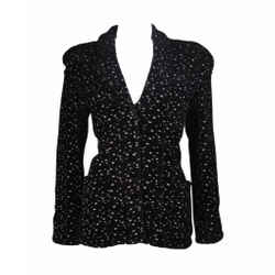 GIORGIO ARMANI Black and White Speckle Wool Jacket Size 46