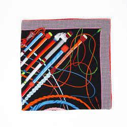 Hermes Fouets Et Badines Scarf 140cm Black Multicolor Cashmere Silk