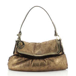 Chef Flap Bag Metallic Leather with Shearling Small