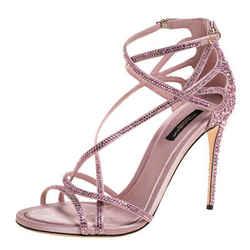 Dolce & Gabbana Pink Satin Crystal Embellished Strappy Open Toe Sandals Size