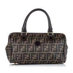 Vintage Authentic Fendi Brown Dark Brown PVC Plastic Zucca Handbag Italy