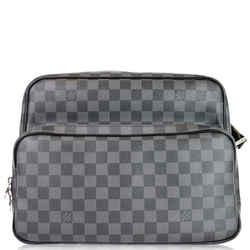 LOUIS VUITTON Sac Leoh Damier Graphite Messenger Bag Black