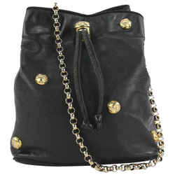 Salvatore Ferragamo Black Leather Icon Studs Drawstring Bucket Chain Shoulder Bag 862625