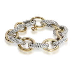 David Yurman Oval Link Bracelet in 18K Yellow Gold/Sterling Silver