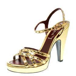 Prada Gold Leather Studded Platform Ankle Strap Sandals Size 36