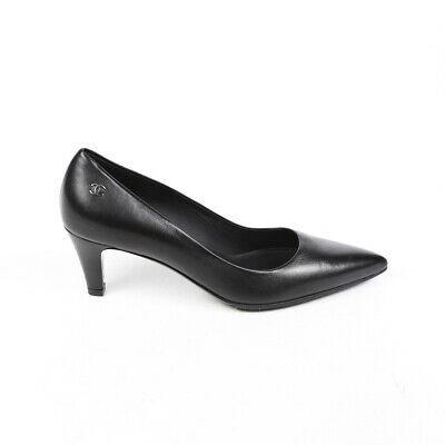 Chanel Pumps Black Leather CC Pointed SZ 38