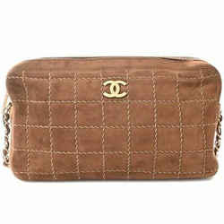 Auth Chanel Chanel Suede Wild Stitch Chocolate Bar Coco Mark Chain Shoulder Bag
