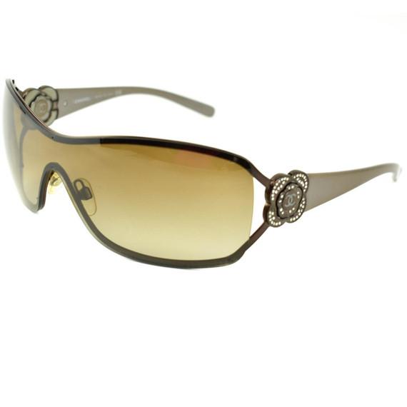 "CHANEL: Bronze, ""Camellia"" & ""CC"" Logo Crystals Shield Sunglasses (lz)"