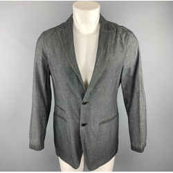 John Varvatos Size 36 Dark Gray Heather Linen / Cotton Sport Coat