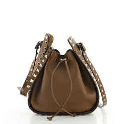 Rockstud Drawstring Bucket Bag Leather Small