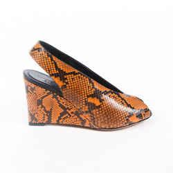 Celine Wedges Brown Snake Print Peep Toe Slingback SZ 37.5