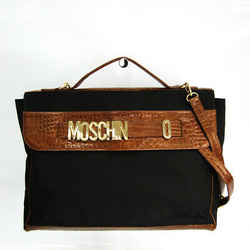 Moschino Unisex Leather,Nylon Briefcase,Shoulder Bag Black,Brown BF518867