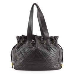 Vintage Drawstring Hobo Bag Quilted Lambskin Large